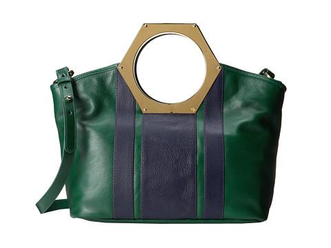 Jonathan Adler - Goldie Hex Handle Tote (Malachite/True Navy) Tote Handbags