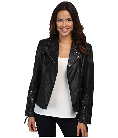 Scully - Francesca Eagle Studded Moto Jacket (Black) Women