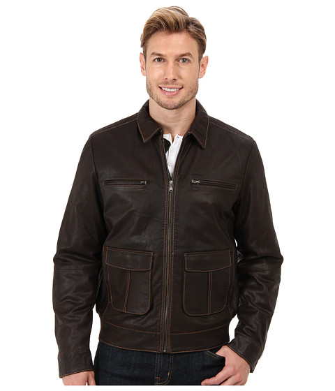 Scully - Barron Leather Jacket (Brown) Men's Coat