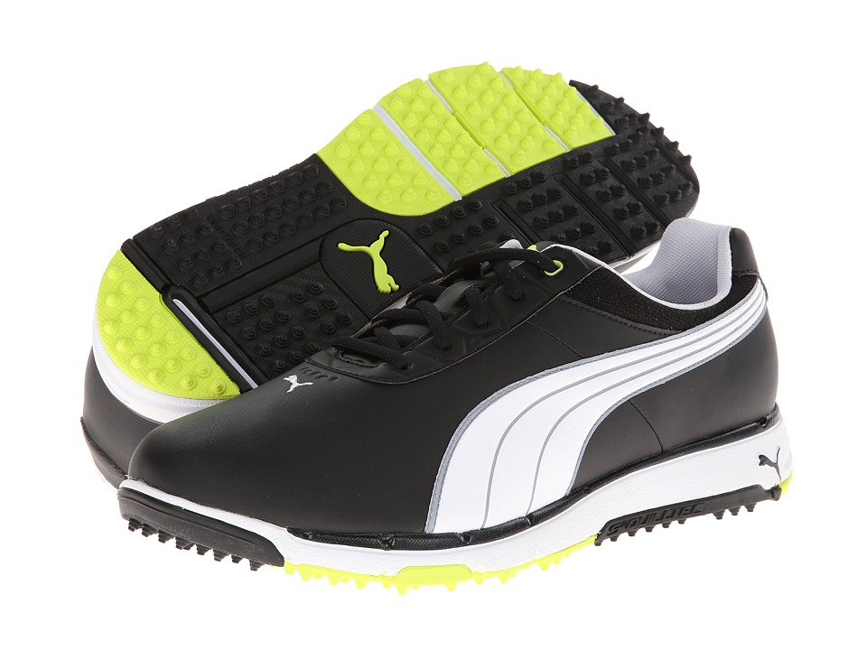 PUMA Golf - FAAS Grip 2.0 (Black/White/Fluro Yellow) Men's Golf Shoes