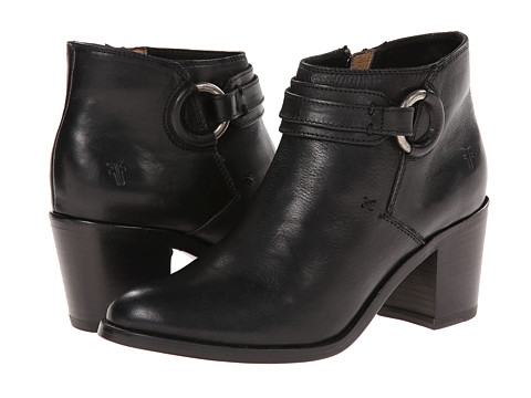 Frye - Janis Ring Short (Black Smooth Vintage Leather) Cowboy Boots