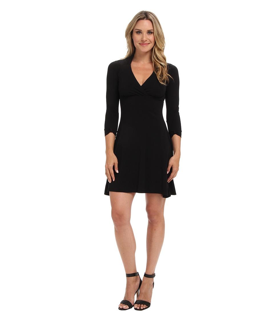 Mod-o-doc - Jersey 3/4 Sleeve Surplice Dress (Black 2) Women
