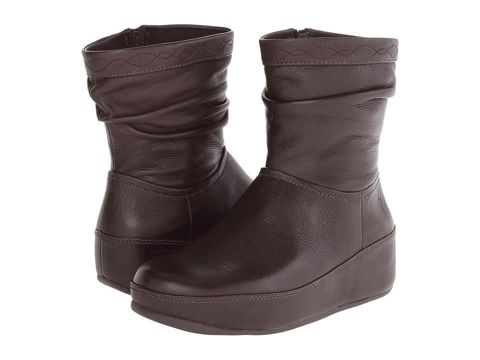 FitFlop Zip Up Crush Boot (Chocolate Brown) Women