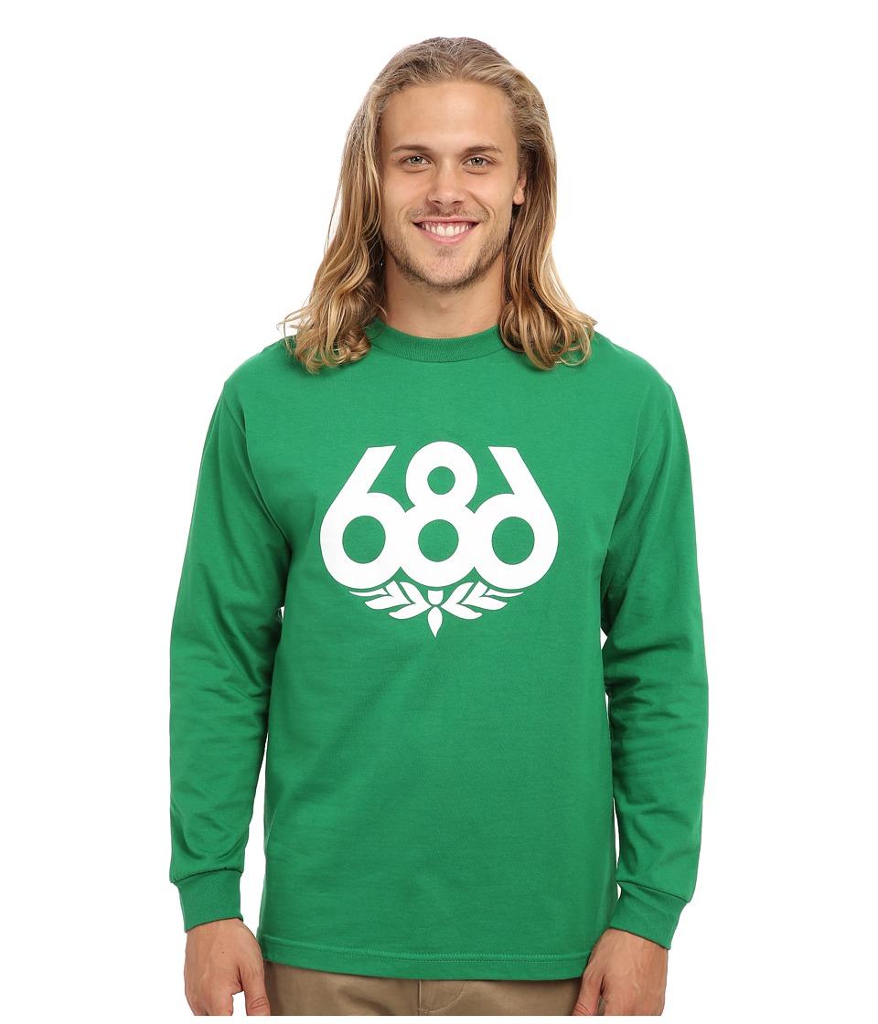 686 - Wreath L/S T-Shirt (Kelly Green) Men's Long Sleeve Pullover