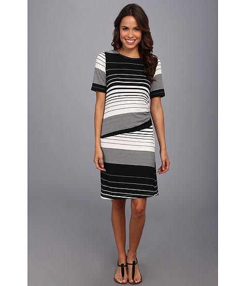 Nally & Millie - Striped Half Sleeve Dress (Black/White) Women