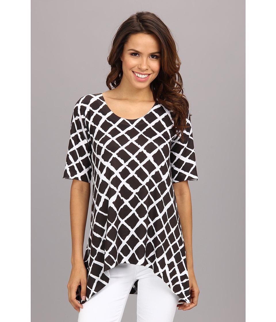 Nally & Millie - Printed Half Sleeve High Low Tunic (Multi) Women's Blouse