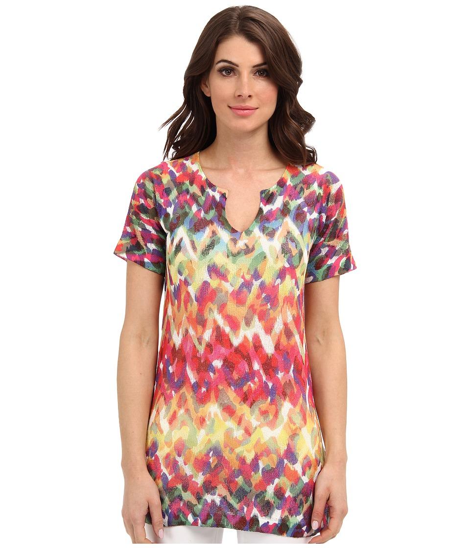 Nally & Millie - Printed Jewel Neck S/S Tunic (Multi) Women's T Shirt