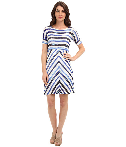 Nally & Millie - 2 Piece Set - Printed Half Sleeve Dress w/ White Tank Dress Layer (Multi) Women