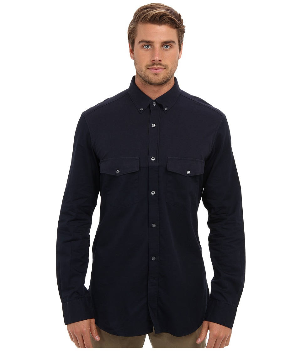 French Connection - Pluto Mixed Media L/S Shirt (Marine Blue) Men's Long Sleeve Button Up