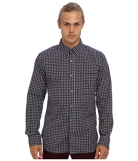 French Connection - Gallery Diamonds (Black Iris) Men's Long Sleeve Button Up