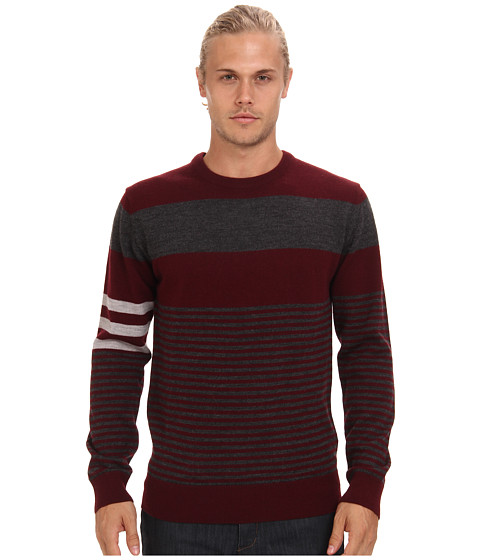 French Connection - Freighter Merino Stripe (Port/Charcoal Melange/Grey Melange) Men's Long Sleeve Pullover