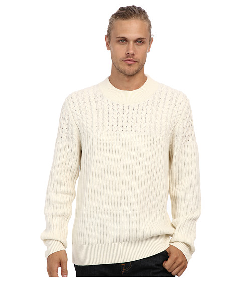 French Connection - Huntsman Solid Cable Knit Sweater (Cuba White) Men's Sweater