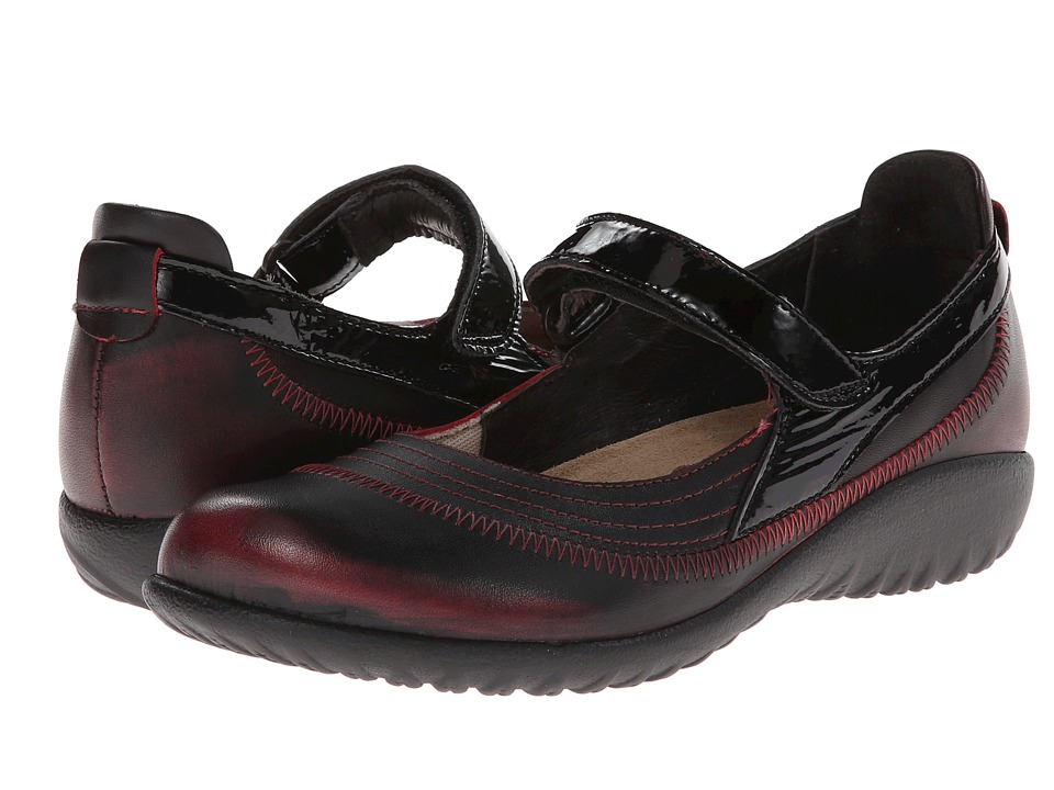 Naot Footwear - Kirei (Volcanic Red Leather/Black Crinkle Patent Leather) Women's Maryjane Shoes