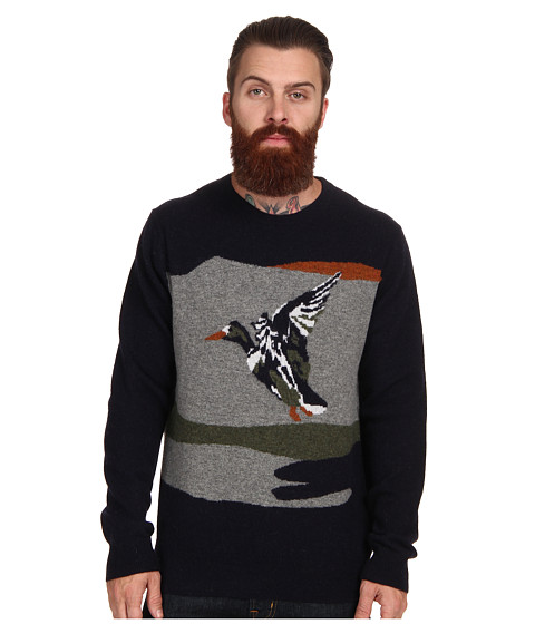 French Connection - Landscape Lambswool Sweater (Marine Blue) Men