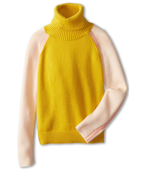 Chloe Kids - Color Block Knitted Turtleneck Sweater (Big Kids) (Moutarde) Girl