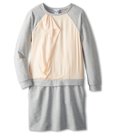 Chloe Kids - Silk Satin Overlay Fleece Dress With Ruffles (Big Kids) (Grey) Girl's Dress