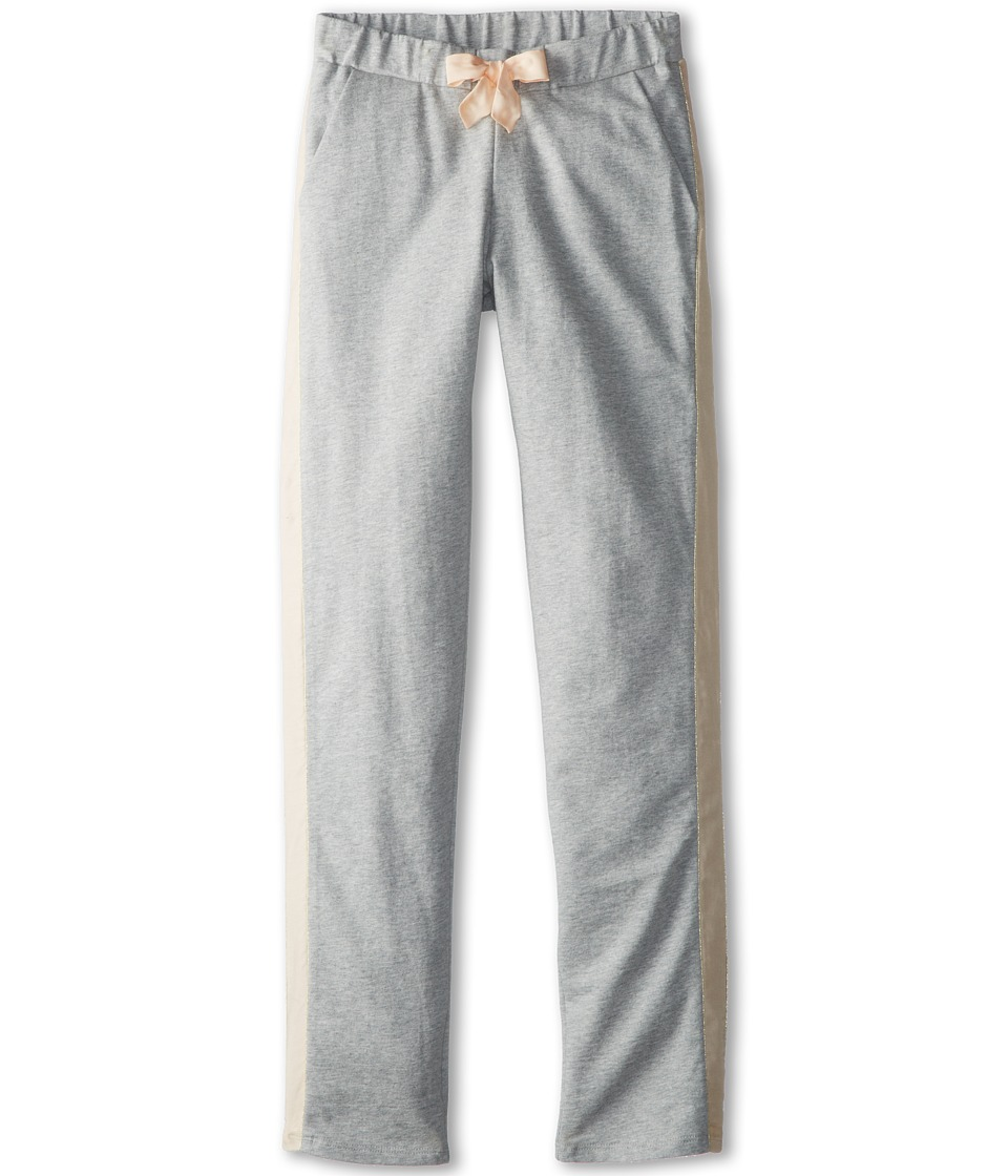 Chloe Kids - Fleece Trousers With Satin Side Panel (Big Kids) (Grey Chine) Girl's Casual Pants