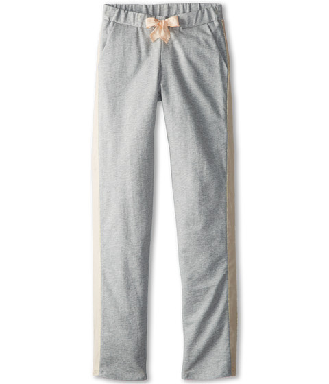 Chloe Kids - Fleece Trousers With Satin Side Panel (Big Kids) (Grey Chine) Girl