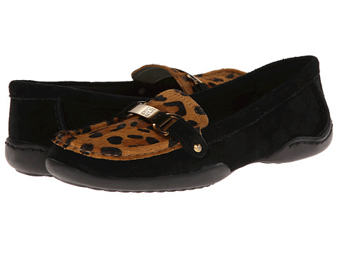 Anne Klein - Cailley (Black Suede w/ Leopard Plug) Women's Slip on Shoes