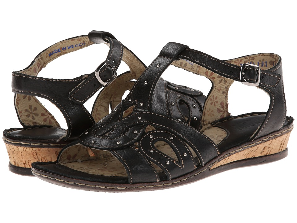 Lobo Solo - Ann (Black Leather) Women's Sandals