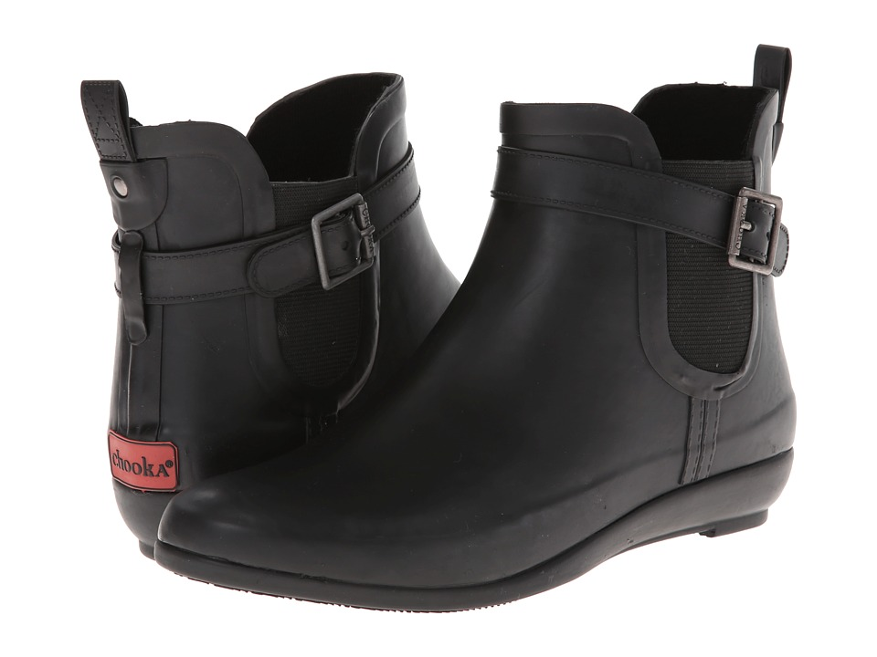 Chooka - Oversized Teardrop Gore Bootie (Black) Women's Rain Boots