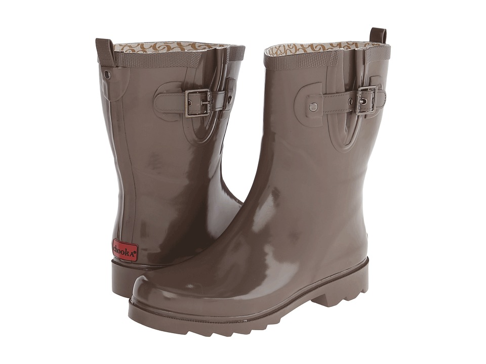 Chooka - Posh Solid Mid (Taupe) Women's Rain Boots