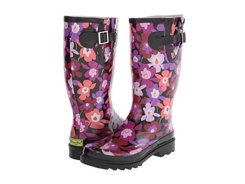 Western Chief - Iris Patch Boot (Black) Women's Rain Boots