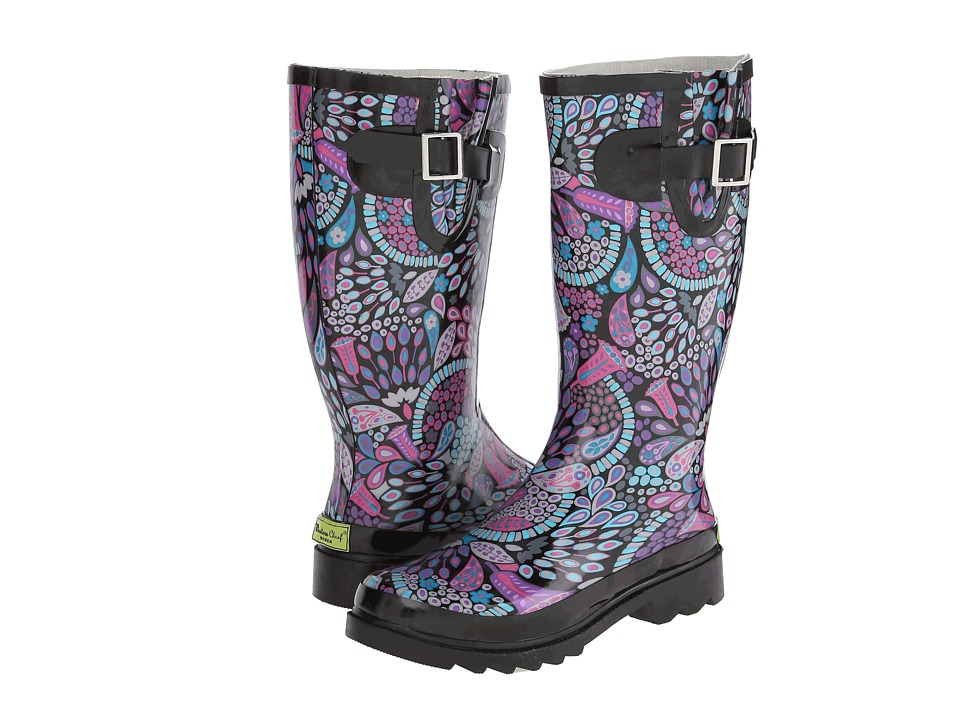 Western Chief - Boho Floral Boot (Black) Women's Rain Boots