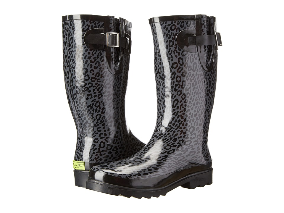 Western Chief - Tight Leopard Boot (Charcoal) Women's Rain Boots