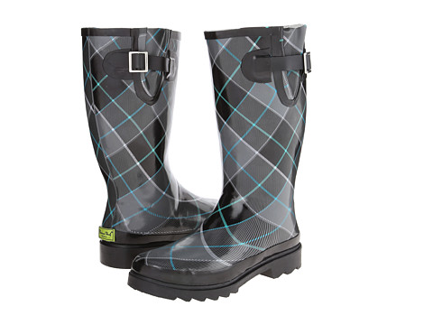 Western Chief - Checked Plaid Boot (Charcoal) Women's Rain Boots