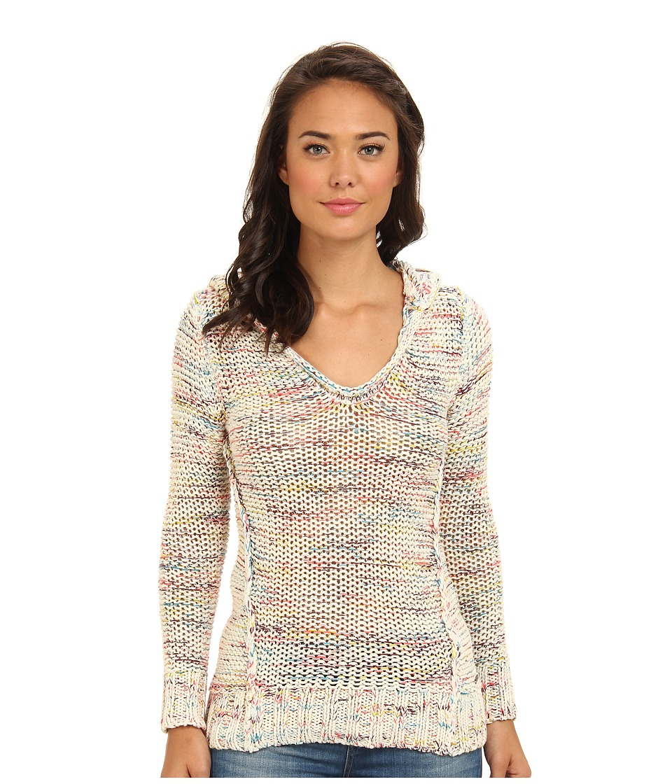 Roxy - White Shores Poncho Sweater Hoodie (Turtledove Pattern) Women's Sweater