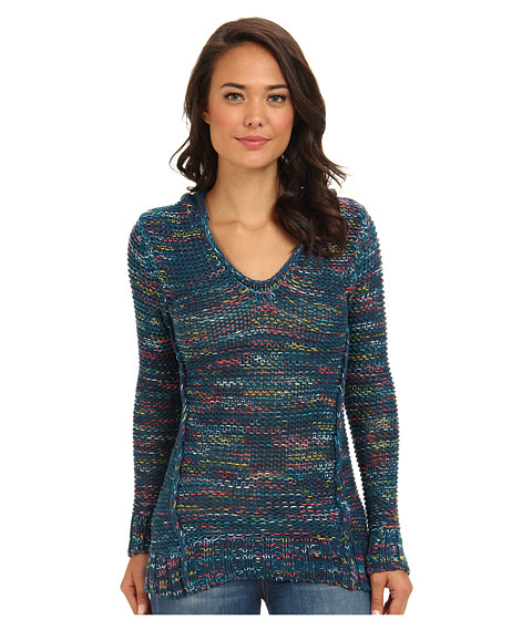 Roxy - White Shores Poncho Sweater Hoodie (Ocean Pattern) Women's Sweater