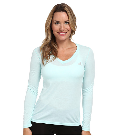 adidas - Ultimate L/S V-Neck Tee (Frost Mint/Matte Silver) Women's T Shirt