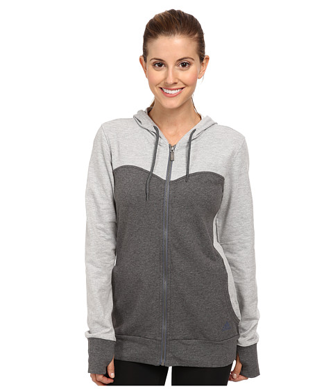 adidas - Sweetheart French Terry Full-Zip Hoodie (Dark Grey Heather/Medium Grey Heath) Women