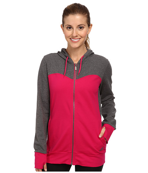 adidas - Sweetheart French Terry Full-Zip Hoodie (Bold Pink/Dark Grey Heather) Women's Sweatshirt