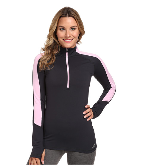 adidas - Techfit Cold Weather Half Zip (Night Grey/Frost Pink) Women's Long Sleeve Pullover