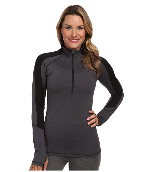 adidas - Techfit Cold Weather Half Zip (Dark Grey Heather/Black) Women's Long Sleeve Pullover