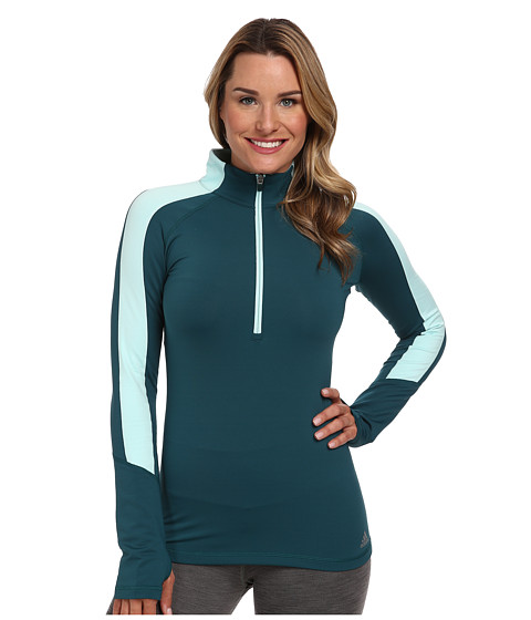 adidas - Techfit Cold Weather Half Zip (Rich Green/Frost Mint) Women's Long Sleeve Pullover