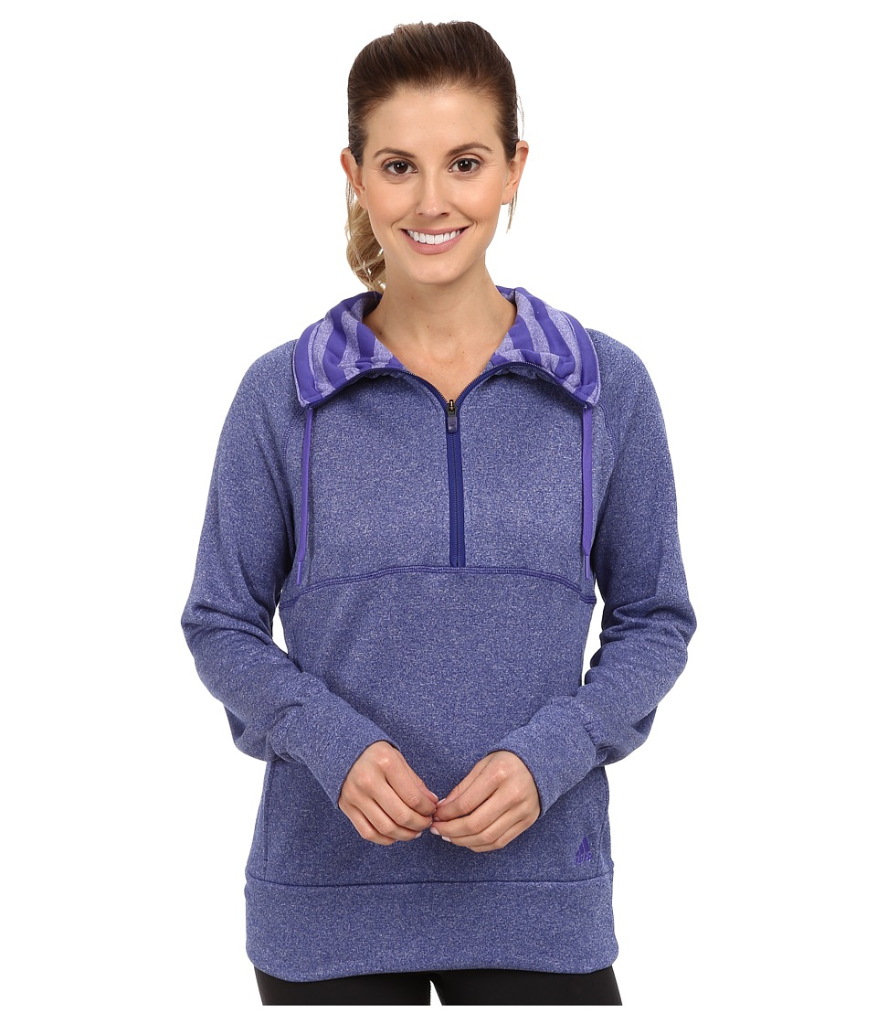 adidas - Ultimate Half-Zip Fleece (Amazon Purple Heather/Power Purple) Women's Fleece