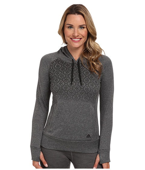 adidas - Ultimate Fleece Geo Freeze Hoodie (Dark Grey/Black) Women's Sweatshirt