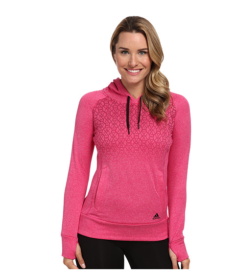 adidas - Ultimate Fleece Geo Freeze Hoodie (Bold Pink/Tribe Berry/Black) Women's Sweatshirt