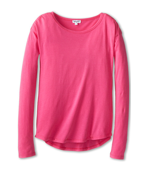 Splendid Littles - Long Sleeve Basic Top (Big Kids) (Hot Pink) Girl's Long Sleeve Pullover