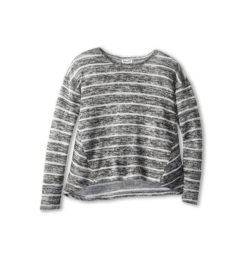 Splendid Littles - Yarn Mix Loose Knit Top L/S (Big Kids) (Dark Grey Heather) Girl