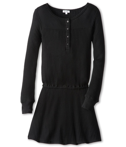 Splendid Littles - Waffle Thermal Dress (Big Kids) (Black) Girl's Dress