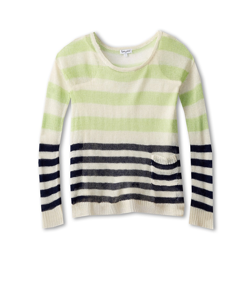 Splendid Littles - Stripe Loose Knit L/S Top And Cami (Big Kids) (Off White) Girl's Long Sleeve Pullover