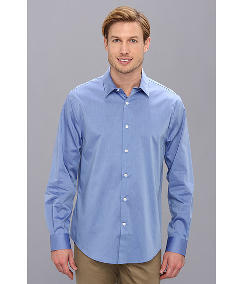 Perry Ellis - Long Sleeve Twill Non Iron Shirt (French Blue) Men
