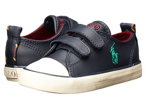 Polo Ralph Lauren Kids - Falmuth Low EZ FT14 (Toddler) (Navy Leather w/ Varsity Patch) Boys Shoes