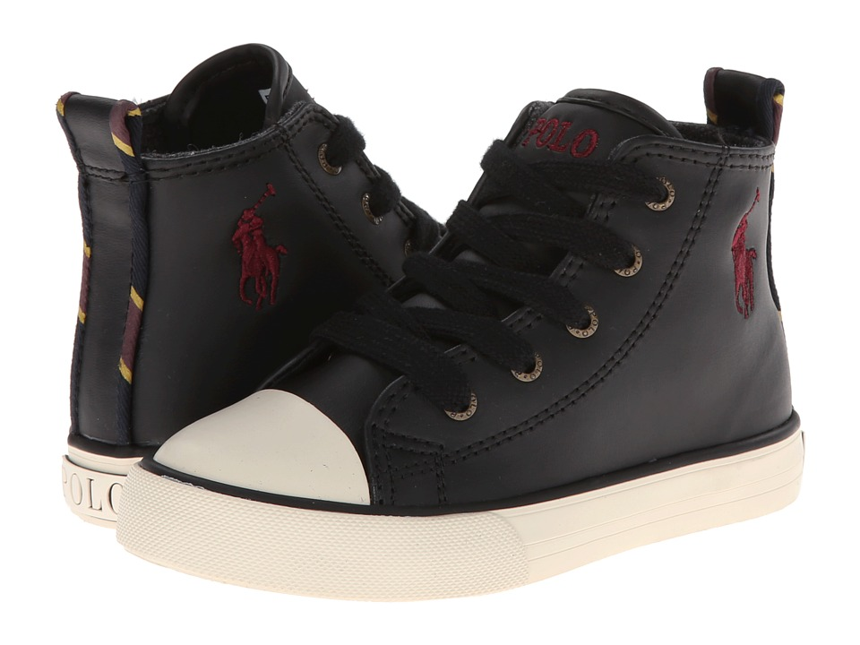 Polo Ralph Lauren Kids - Falmuth Hi FT14 (Toddler) (Black Leather w/ Varsity Patch) Boys Shoes