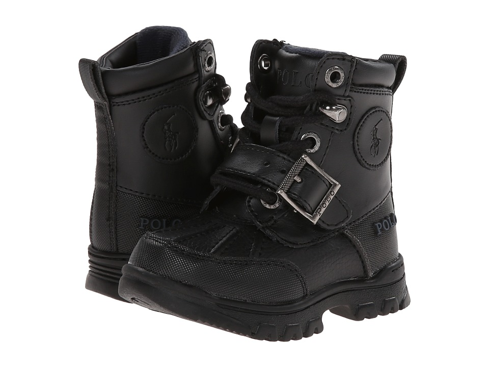 Polo Ralph Lauren Kids Colbey Boot FT14 (Toddler) (Black Tumbled/Burnished Leather) Boys Shoes