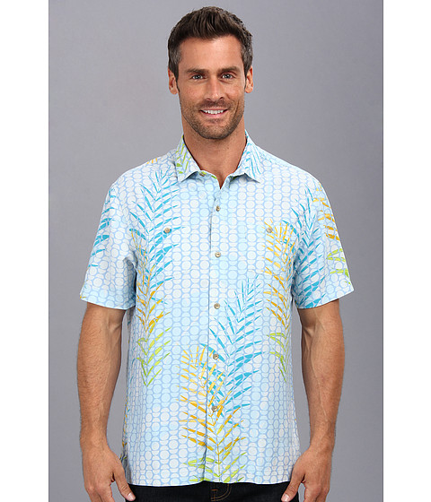 Tommy Bahama - Island Modern Fit Plinko Palms S/S Camp Shirt (Light Sky) Men